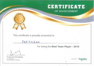 Best Team Player Award – 2019 at Schneider Electric