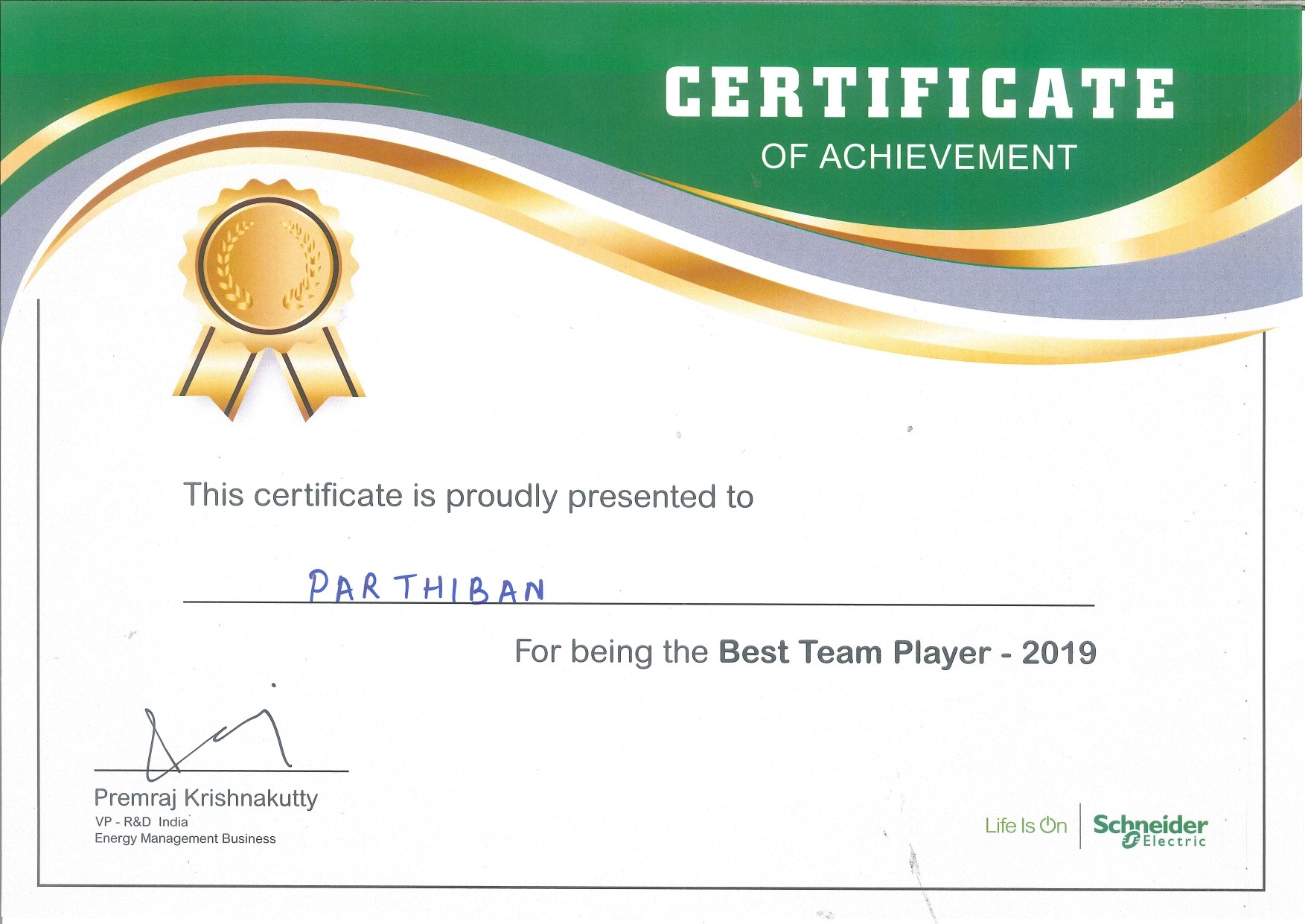 Best team player - 2019